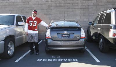 SF 49er Jeff Ulbrich and his 2008 Toyota Prius