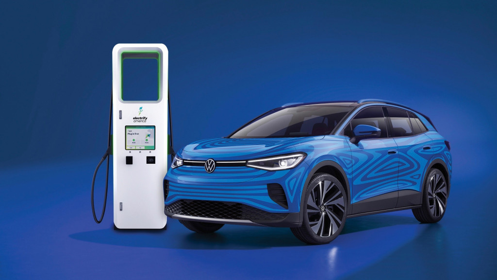 2021 Volkswagen ID.4 and Electrify America DC fast-charging station